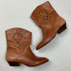 Dingo Western Brown Real Leather Boots Booties 7